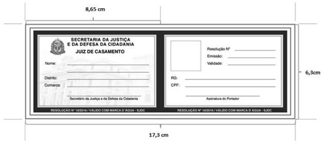 MODELO DE CARTEIRA DE JUIZ DE CASAMENTO E SUPLENTE DE JUIZ DE CASAMENTO